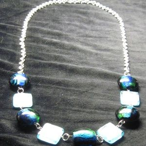 "Blue foil glass beaded necklace - 29"""